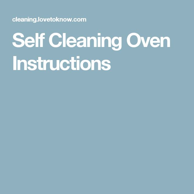 meaning stove self cleaning instructions