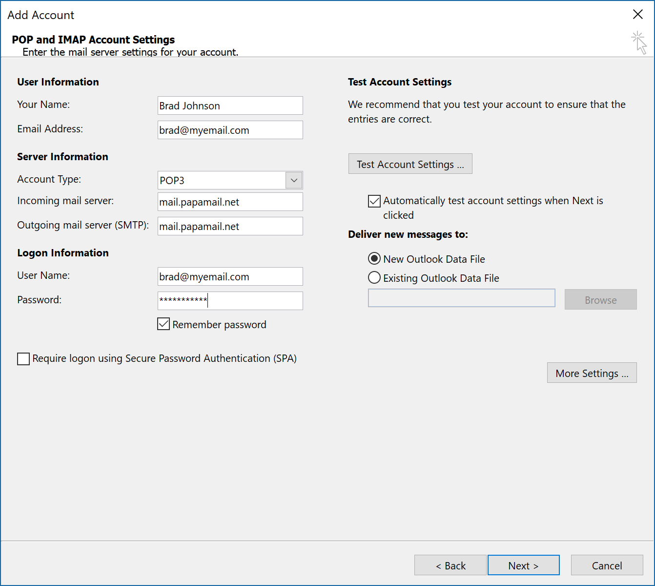 pop access settings and instructions for outlook mail