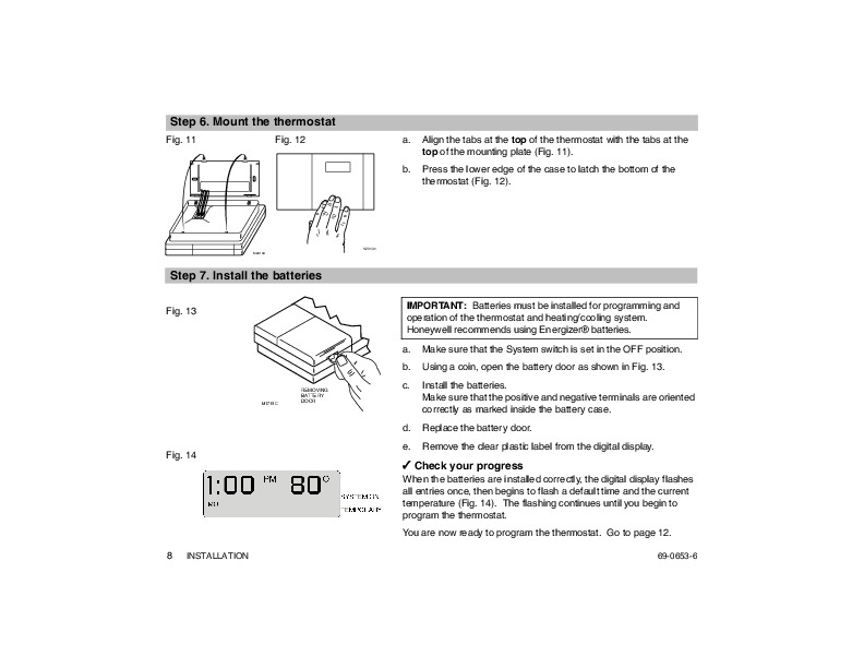 honeywell thermostat instructions st699